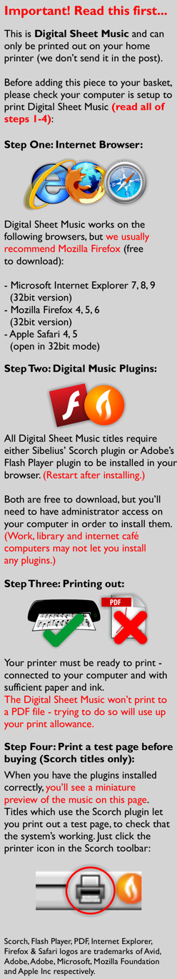 Important - Make sure your computer is already setup for digital sheet music before you purchase this item. This item prints directly to your printer - we don't send it in the post.