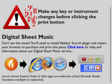Make any key or instrument changes before clicking the print button. Can't see the music? You'll need to install Sibelius' Scorch plugin in order to purchase and print this piece. Click here for help and information about our Digital Sheet Music Service...