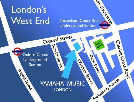 How to find Yamaha Music London - Map of London's West End & Wardour Street