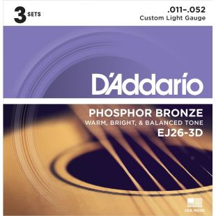 EJ26 Phosphor Bronze, Custom Light, 11-52 (3 sets)