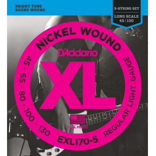 EXL170-5 Nickel Wound 5-String Bass guitar strings, Light, 45-130, Long Scale