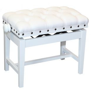 Academy Piano Stool in Polished White Finish with White Leather Top