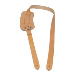 Vintage Style Shoulder Pad Tan Leather Guitar Strap