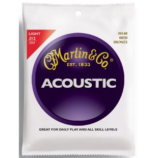 M140 Acoustic Guitar Strings, Light 80/20 Bronze