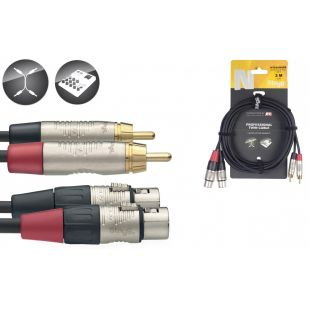 NTC3CMXFR Twin Cable - XLR Female / RCA Male