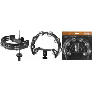 TAB-D-BK Half moon shaped cutaway tambourine for Hi-hat stand