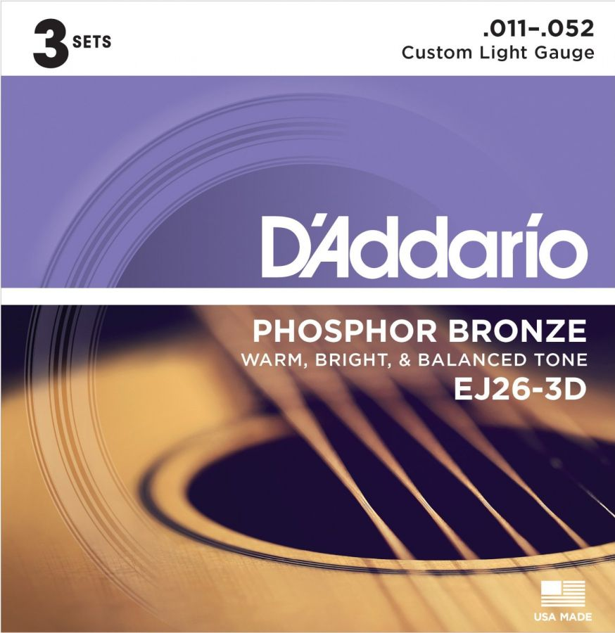 EJ26 Phosphor Bronze Custom Light 11-52 (3 sets)
