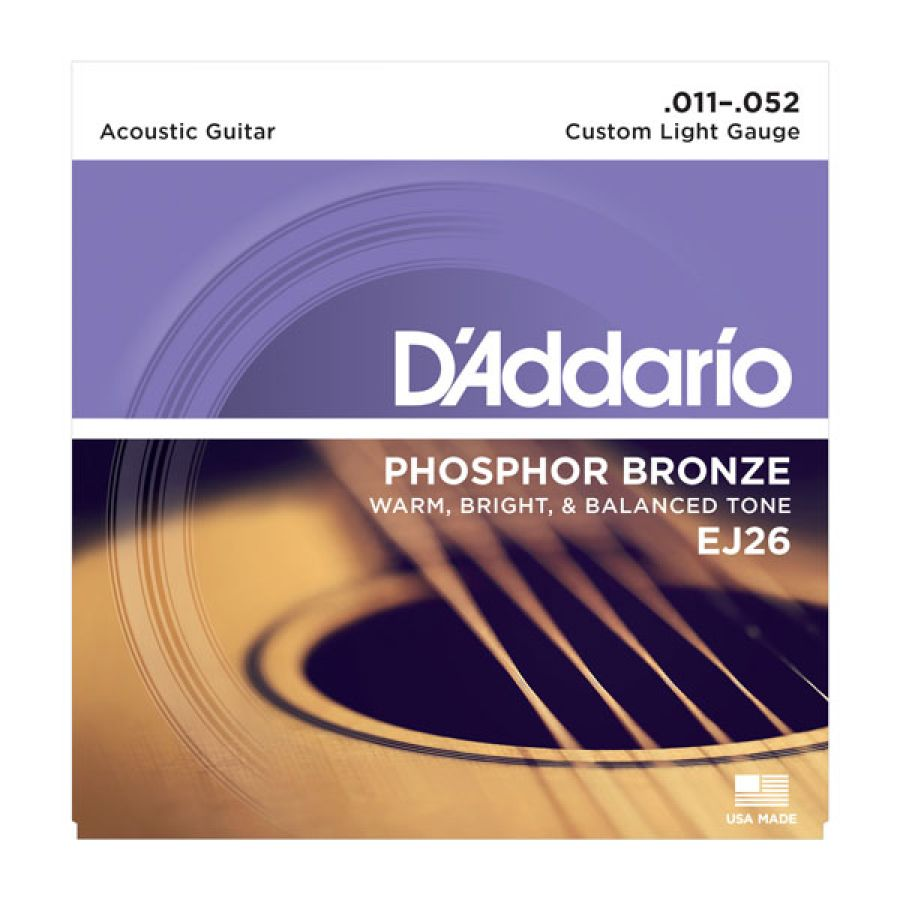 EJ26 Phosphor Bronze Custom Light  Acoustic Strings