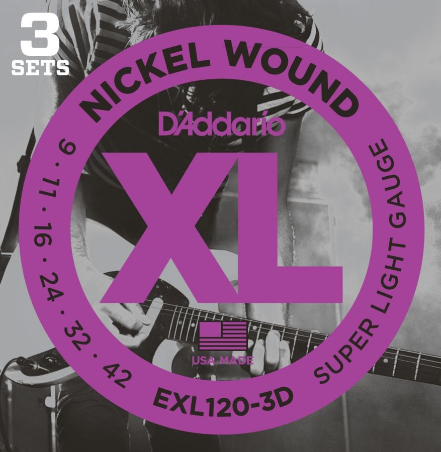 EXL120-3D Electric guitar strings, Nickel Wound, Super Light, 9-42 (3 sets)