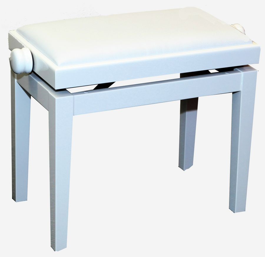 5099 Classic Height-Adjustable Piano Stool in White Finish with White Vinyl Top