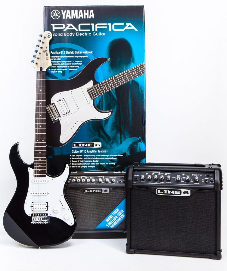 Pacifica 012 Black & Line 6 Spider IV 15 Electric Guitar & Amp Starter Pack