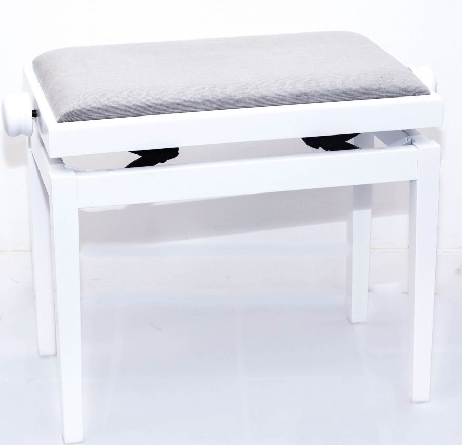 Magnificent 5012 Height Adjustable Piano Stool White Finish With Grey Dralon Seat Top Ibusinesslaw Wood Chair Design Ideas Ibusinesslaworg