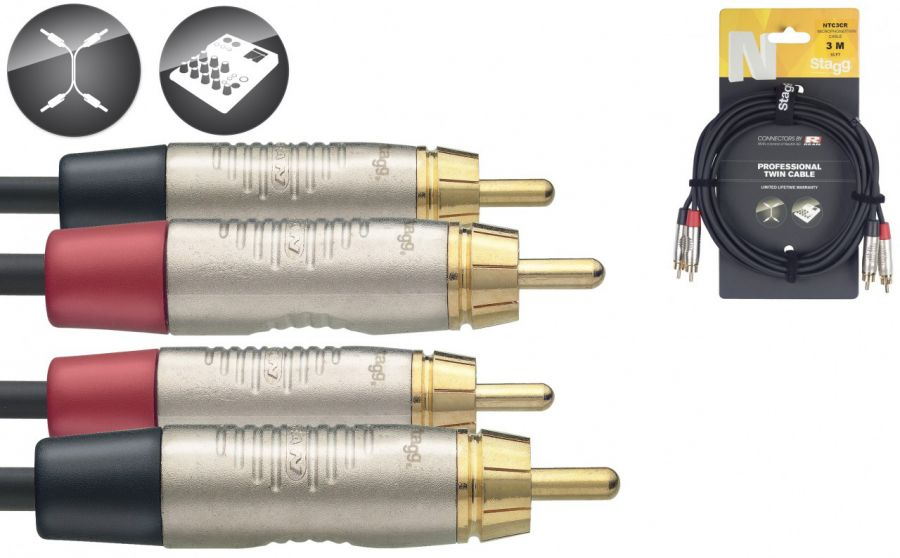 NTC3CR  Twin Cable - RCA Male / RCA Male