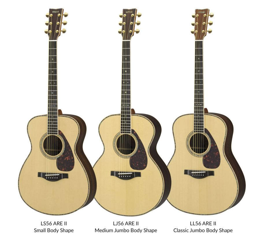 yamaha lj56 ll56 and ls56 are ii custom acoustic guitars in natural finish with hard cases. Black Bedroom Furniture Sets. Home Design Ideas