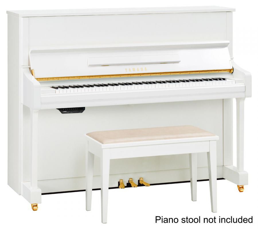 Yamaha p116 sh silent upright piano in polished white for Yamaha sh silent piano price