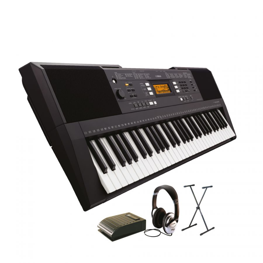 yamaha beginner keyboard pack including psr e343 keyboard with headphones stand and pedal. Black Bedroom Furniture Sets. Home Design Ideas