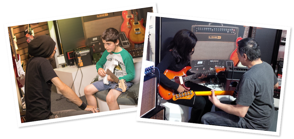 Students learning guitar on previous Learn To Play Days