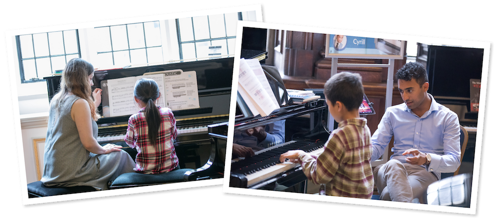 Students having piano lessons on last year's Learn To Play Day