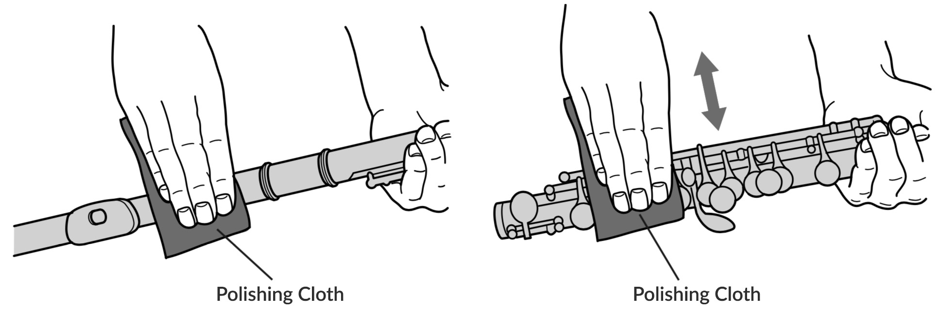 Removing dirt and residue from a flute's outer body using a polishing cloth