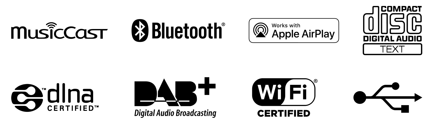 Supports MusicCast, Bluetooth, Airplay, CD, DLNA, DAB+, WiFi and USB Media