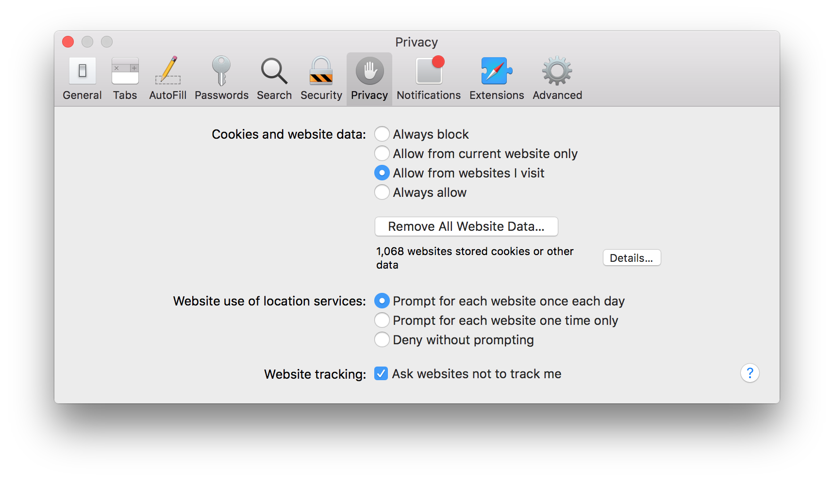Safari's Privacy tab