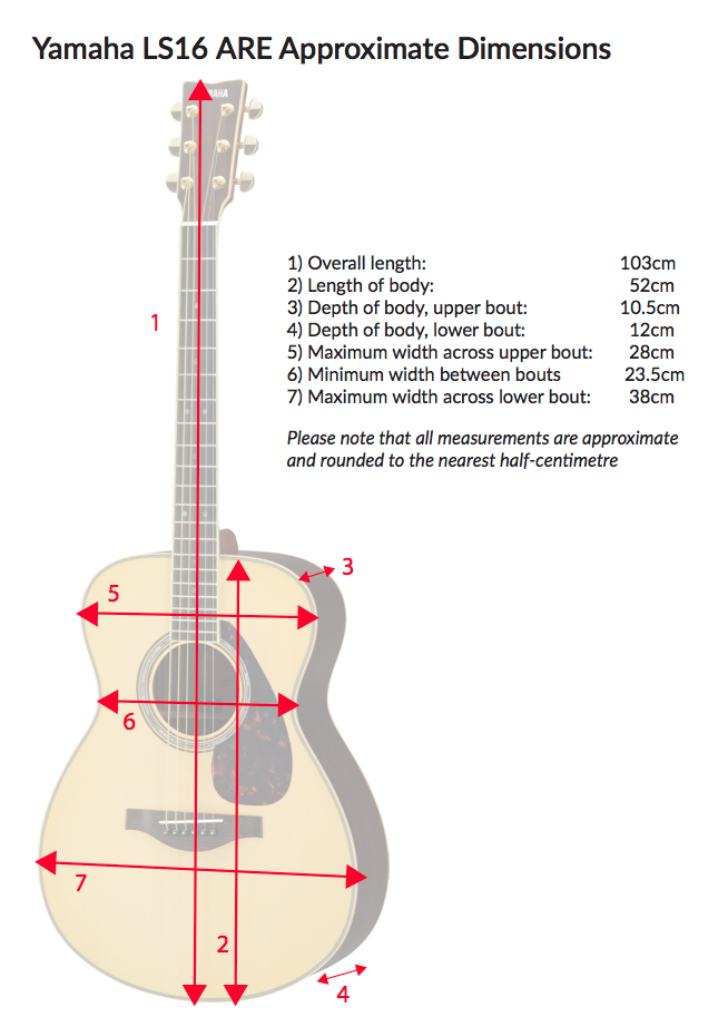 Approximate Dimensions of the LS16 ARE Acoustic Guitar