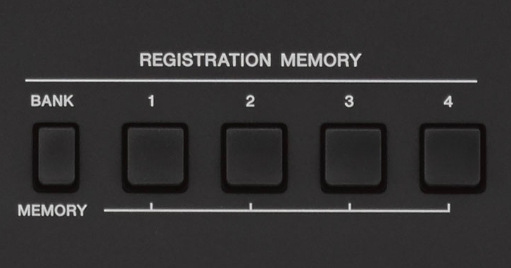Photo of the Registration buttons on a PSR-E453