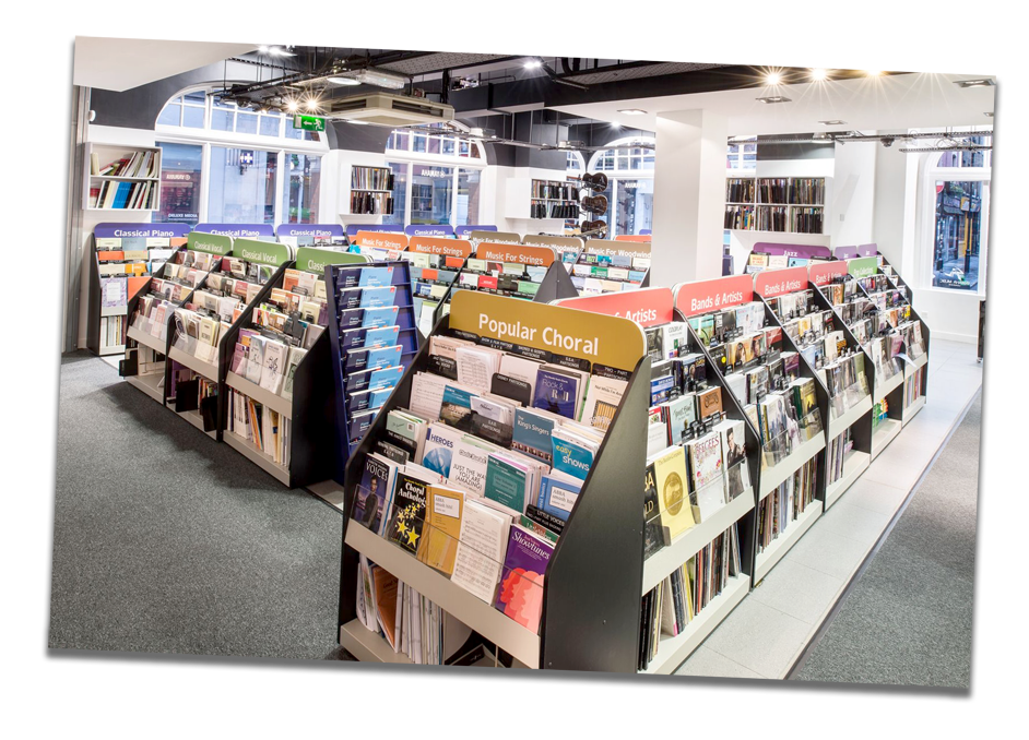 Photo of the sheet music section at Yamaha Music London