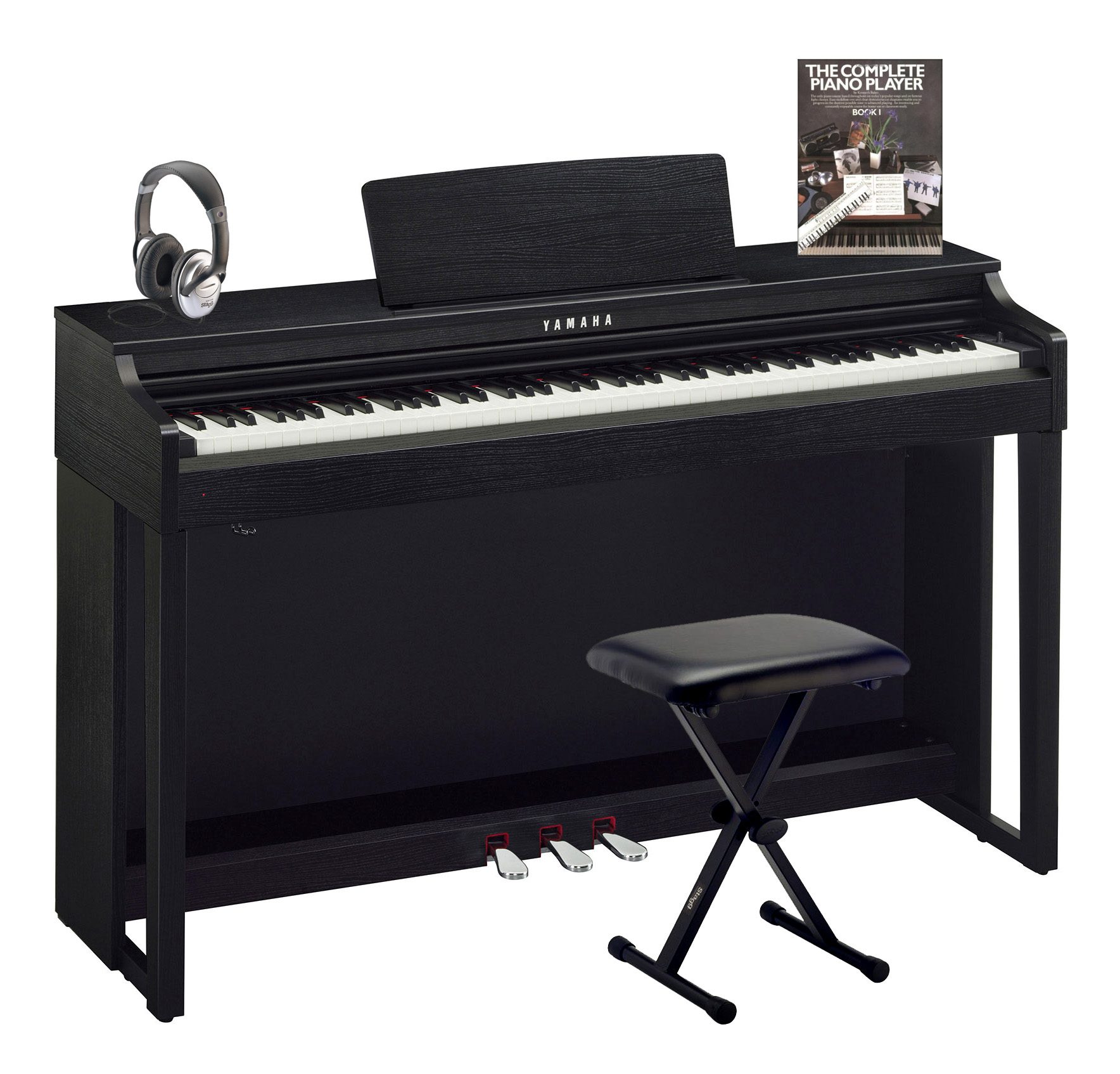 yamaha clp 525 black walnut clavinova package with. Black Bedroom Furniture Sets. Home Design Ideas
