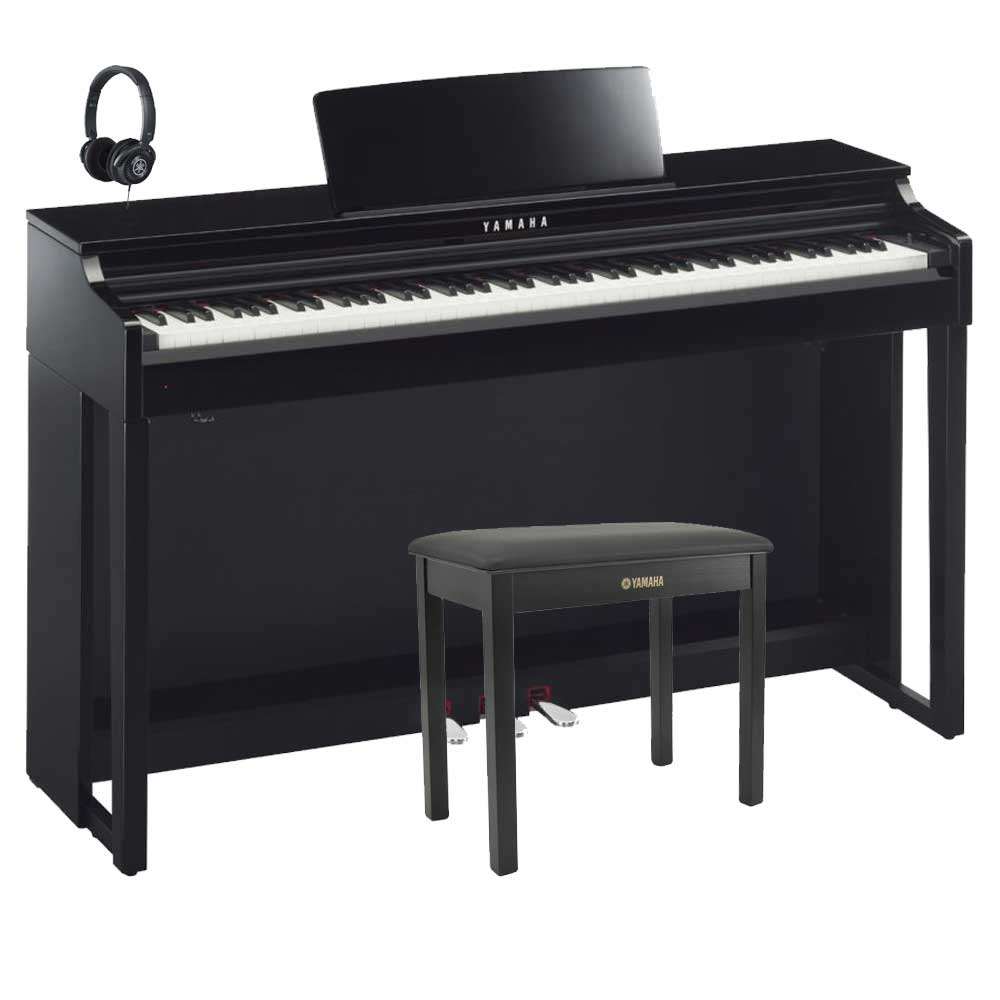 yamaha clp 525 polished ebony deluxe clavinova package. Black Bedroom Furniture Sets. Home Design Ideas