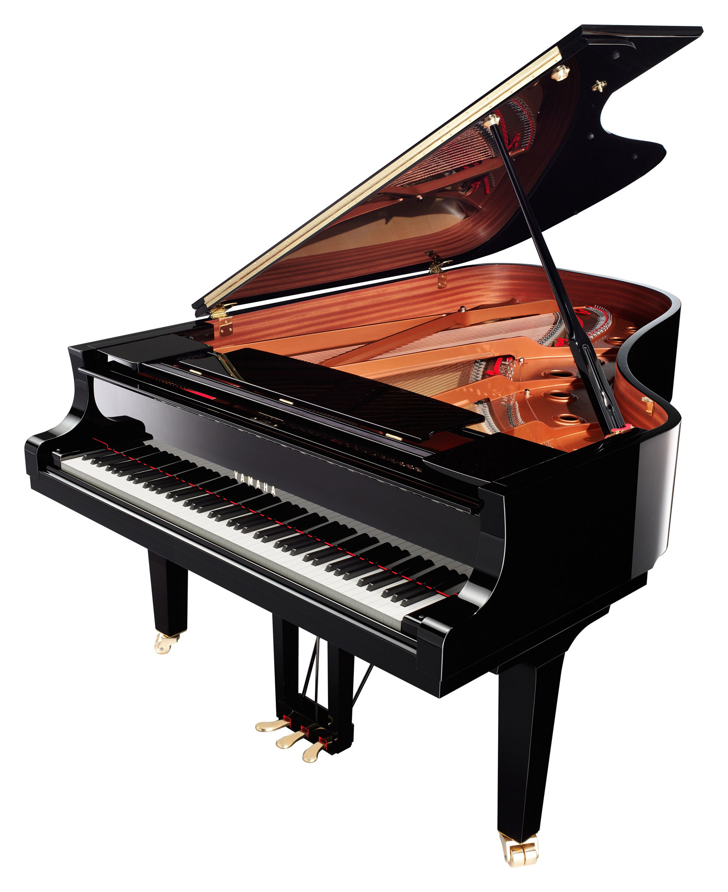 Yamaha c6x sh silent grand piano in polished ebony finish for How big is a grand piano