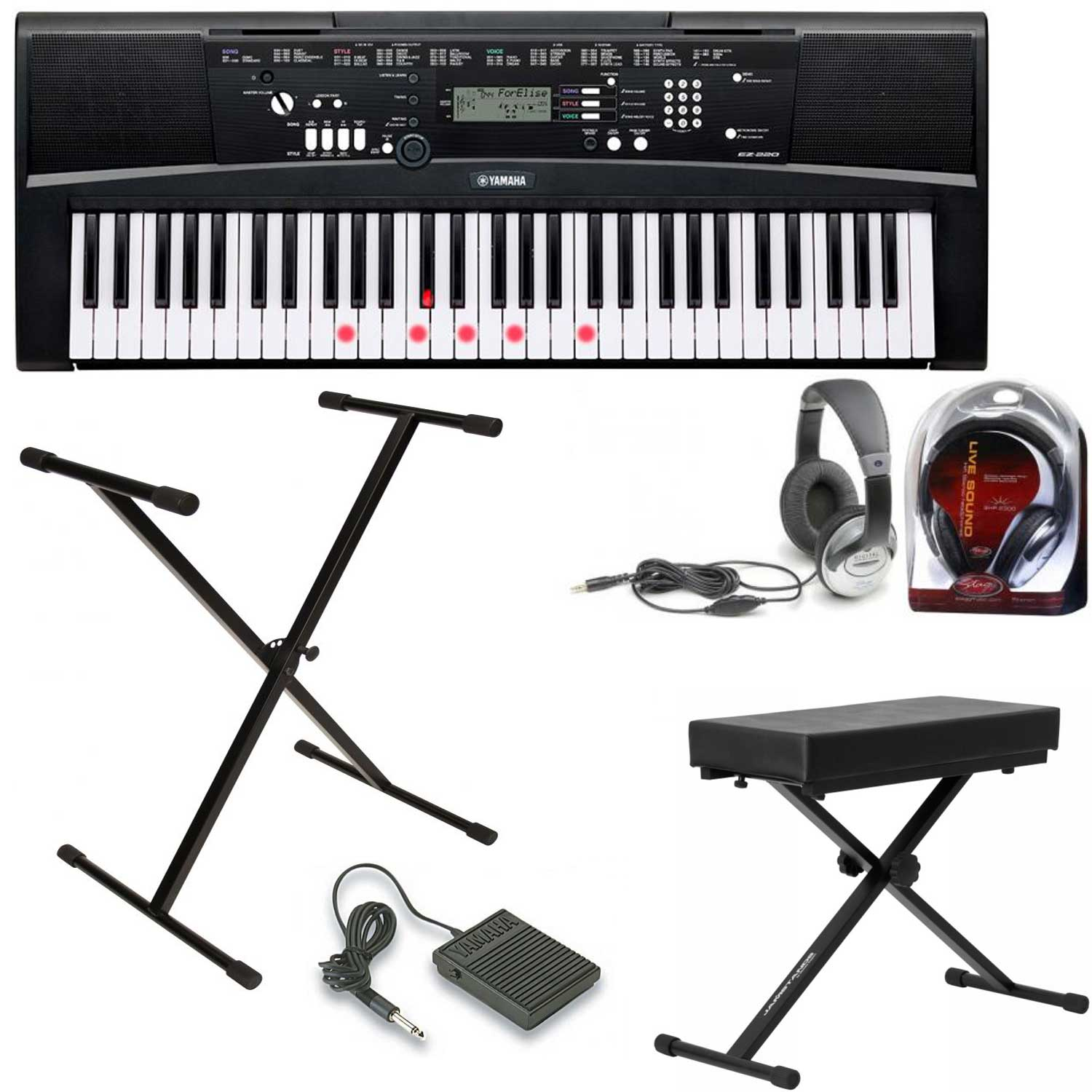 yamaha deluxe ez 220 keyboard package includes stand. Black Bedroom Furniture Sets. Home Design Ideas