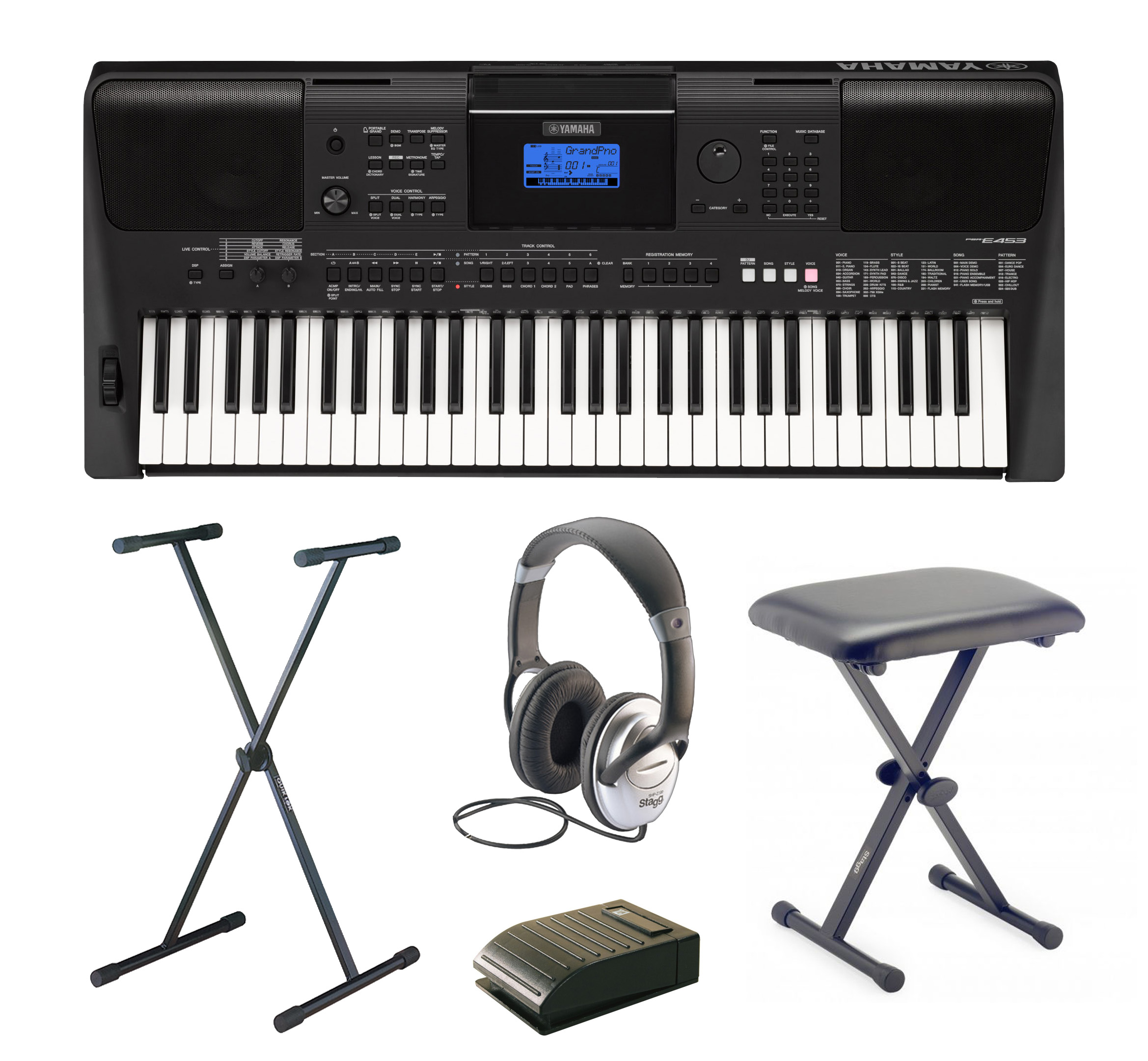 yamaha psr e453 complete home keyboard package includes