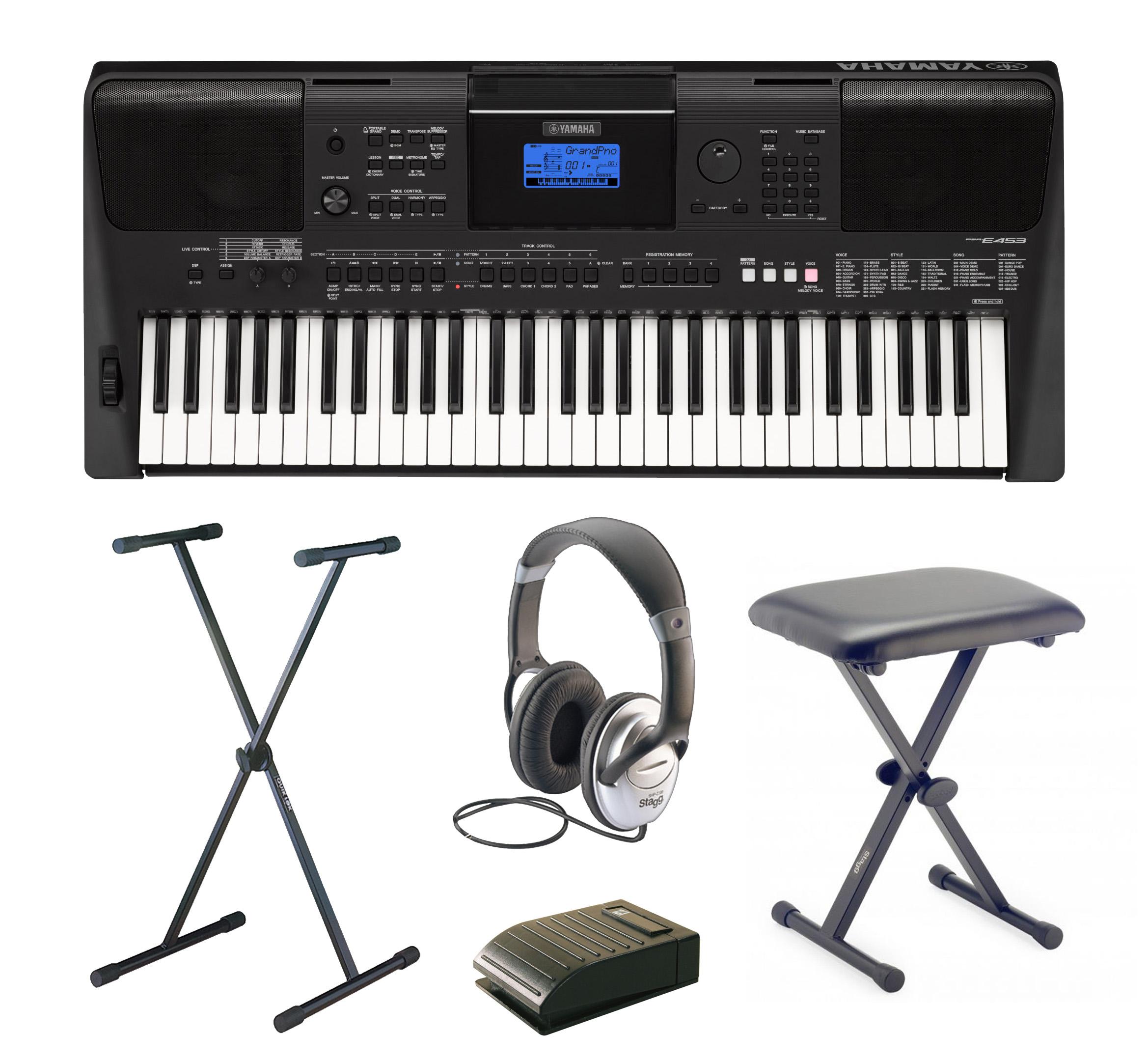 yamaha psr e453 complete home keyboard package includes. Black Bedroom Furniture Sets. Home Design Ideas