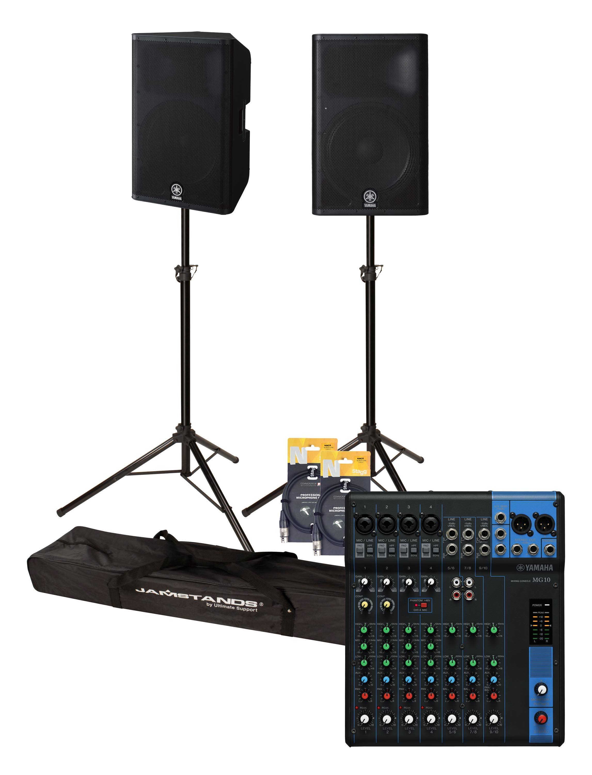 yamaha dxr15 complete active pa speaker package includes mixer stands and cables yamaha music. Black Bedroom Furniture Sets. Home Design Ideas