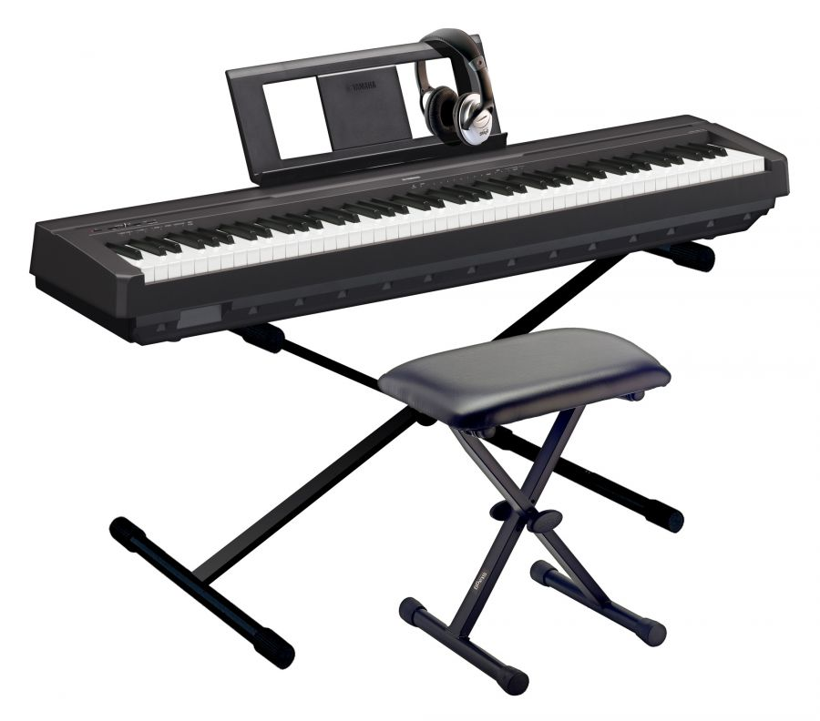yamaha p 45 portable piano pack with p 45 piano headphones stand bench yamaha music london. Black Bedroom Furniture Sets. Home Design Ideas