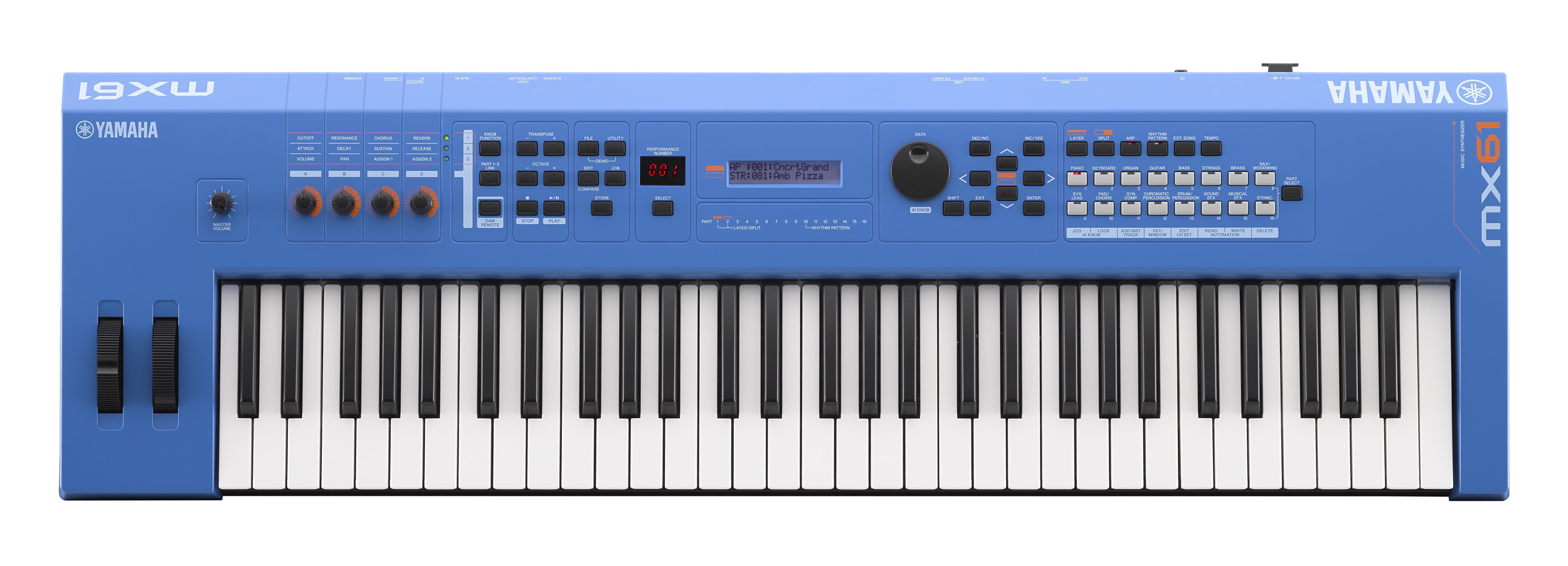 MX61 Version 2 Synthesizer 61 Key Edition, In Blue Finish