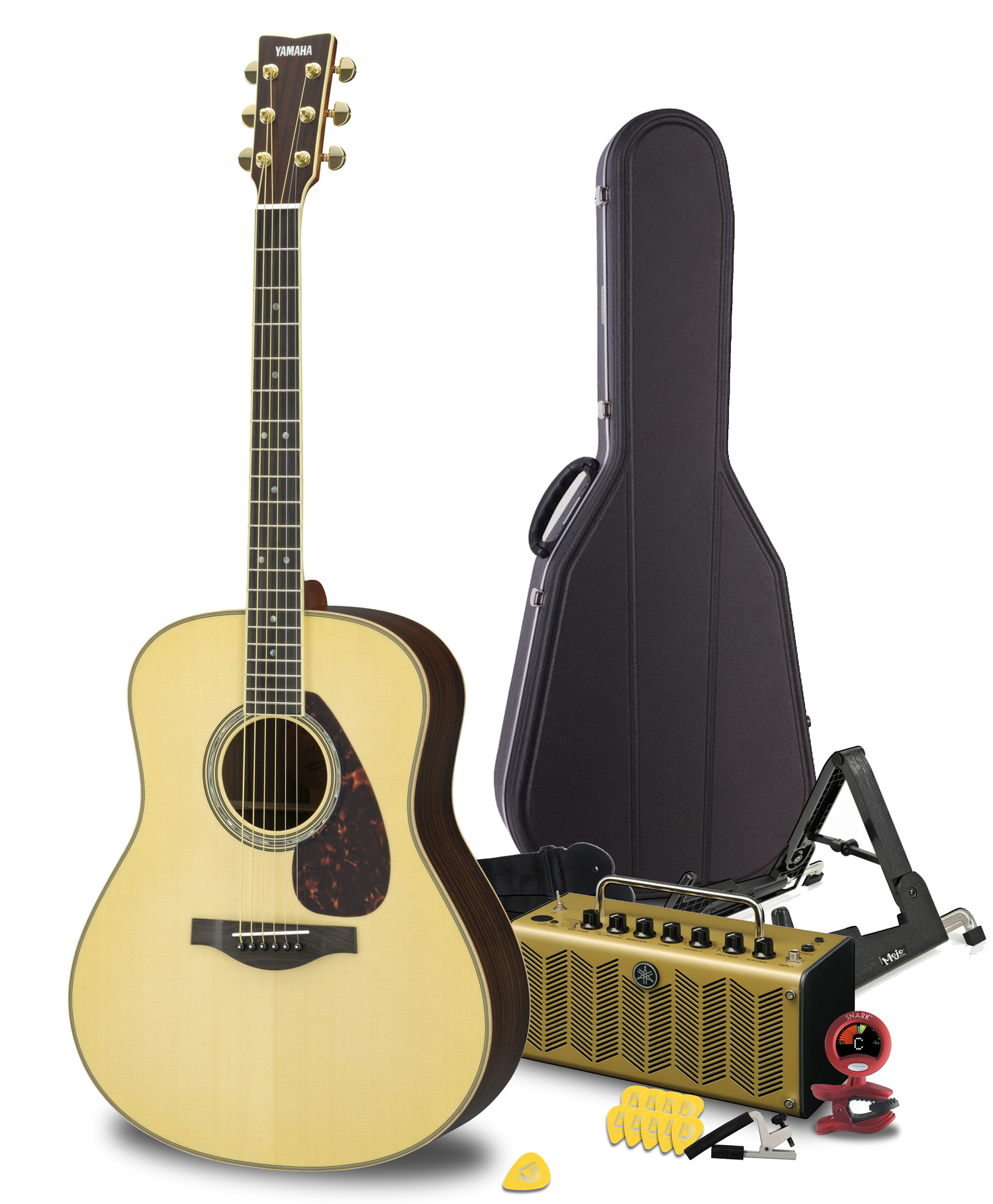 yamaha maverick deluxe acoustic guitar package featuring the ll16 are handcrafted guitar thr5a. Black Bedroom Furniture Sets. Home Design Ideas