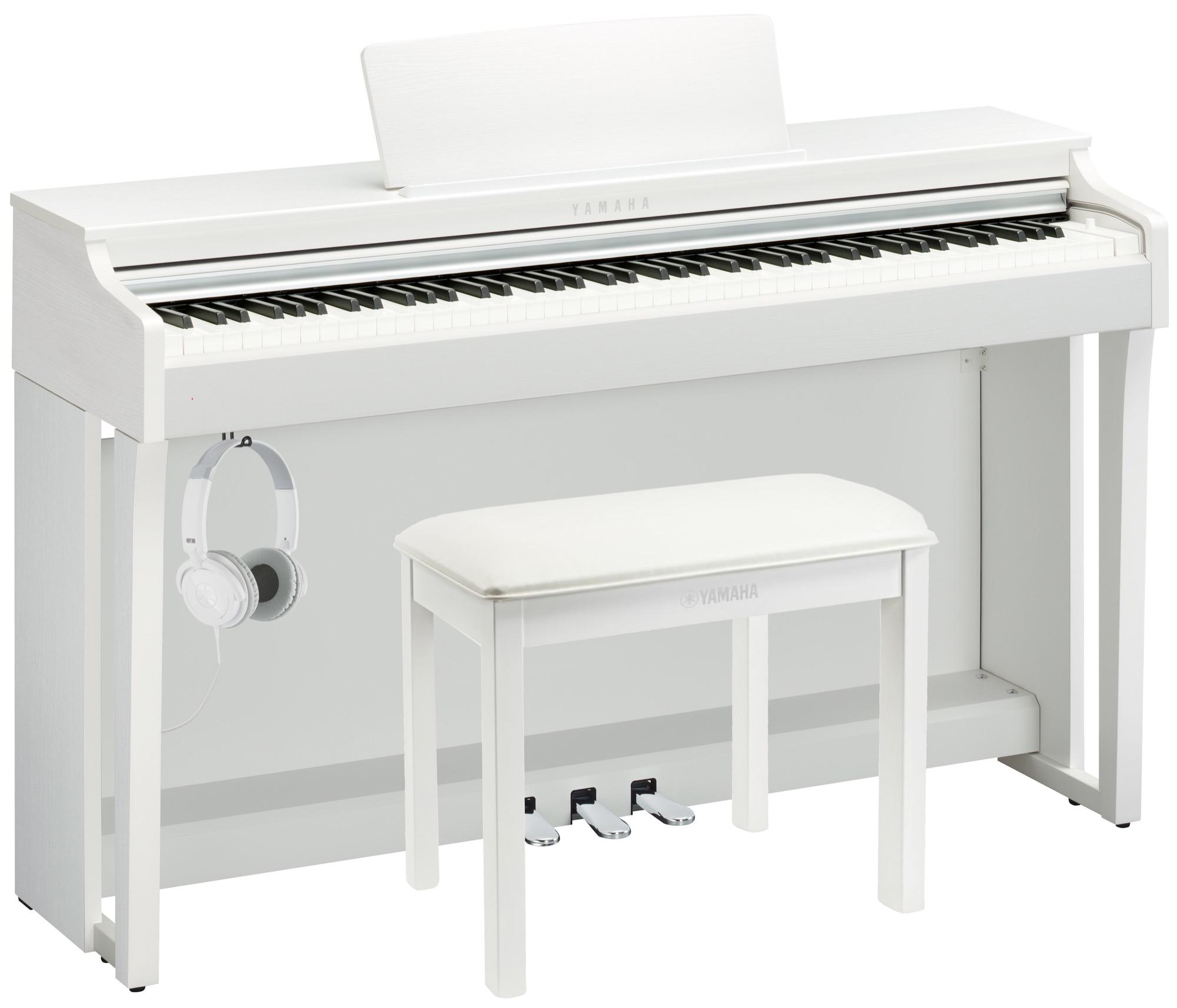 yamaha clp 625 deluxe clavinova piano pack in white finish white yamaha music london. Black Bedroom Furniture Sets. Home Design Ideas