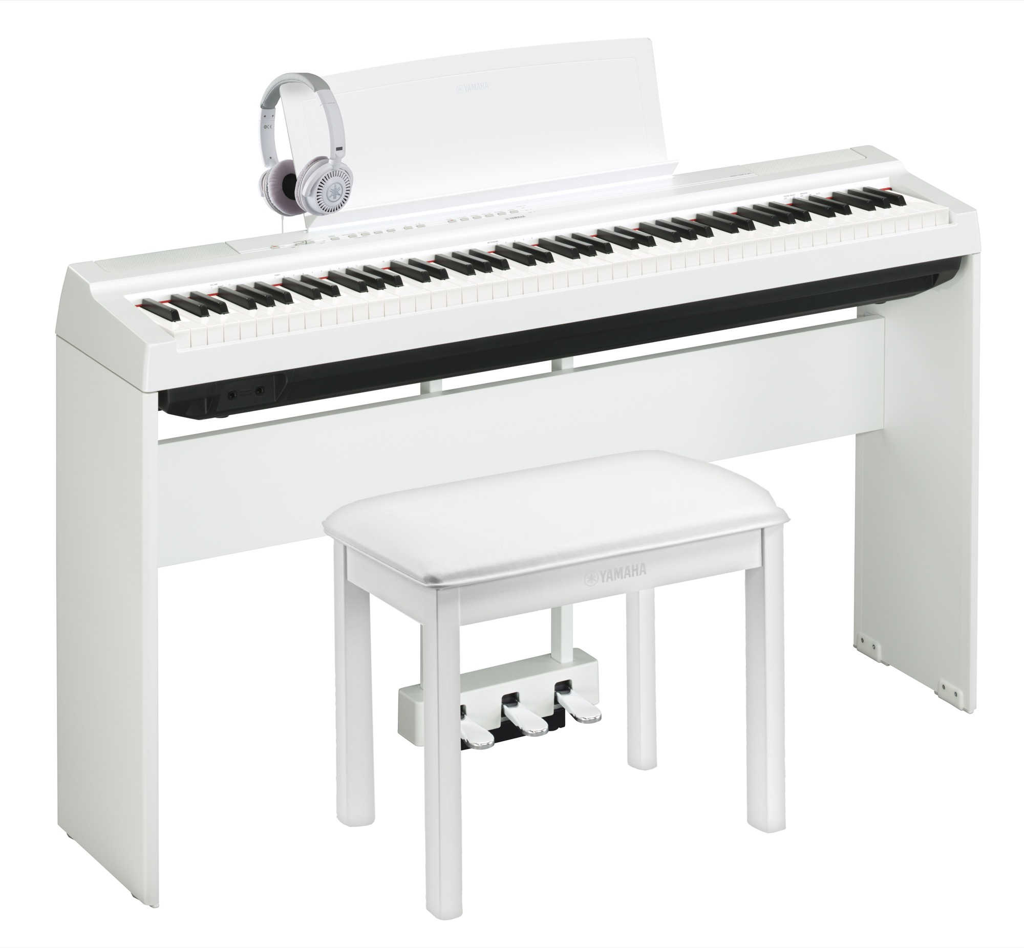 yamaha p 125 deluxe digital piano pack in white finish yamaha music london. Black Bedroom Furniture Sets. Home Design Ideas
