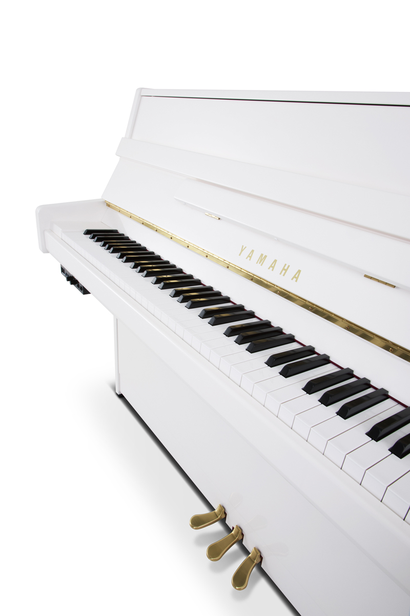 yamaha b1 sg2 silent piano in polished white finish with. Black Bedroom Furniture Sets. Home Design Ideas