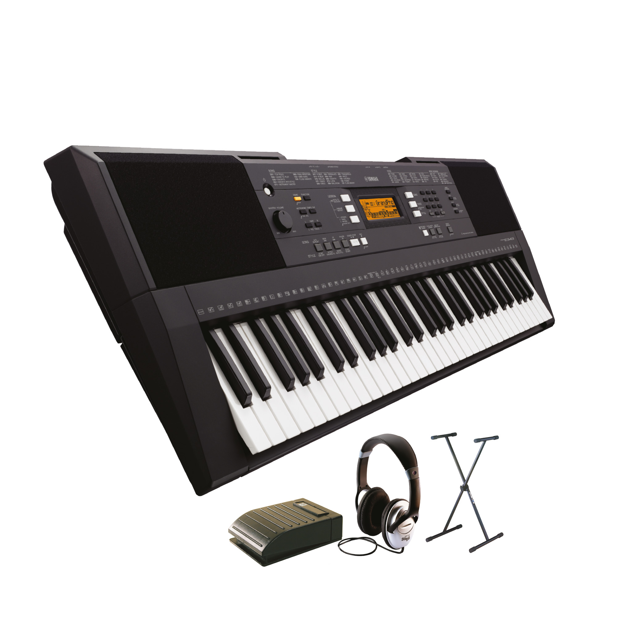 Yamaha beginner keyboard pack including psr e343 keyboard for Yamaha learning keyboard